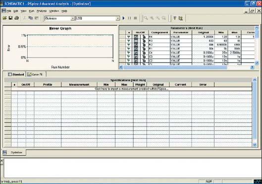 Диалоговое окно PSpice Advanced Analysis Optimizer