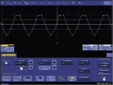 Рис. 1. Интерполяция линейная, частота дискретизации — 5 МГц, входной сигнал — синус с частотой 1 МГц