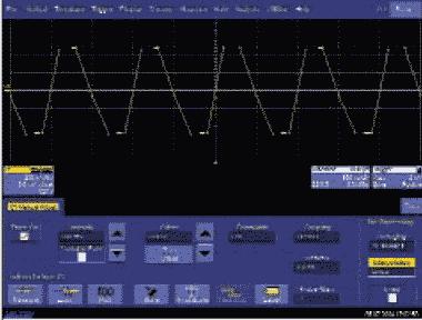 Рис. 3. Интерполяция линейная, частота дискретизации — 5 МГц, входной сигнал — меандр с частотой 1 МГц