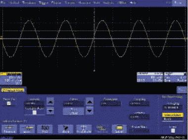 Рис. 2. Интерполяция sin x/x, частота дискретизации — 5 МГц, входной сигнал — синус с частотой 1 МГц