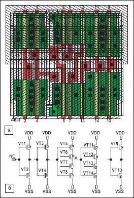 Топология D-триггера без слоев (электрические связи не показаны)