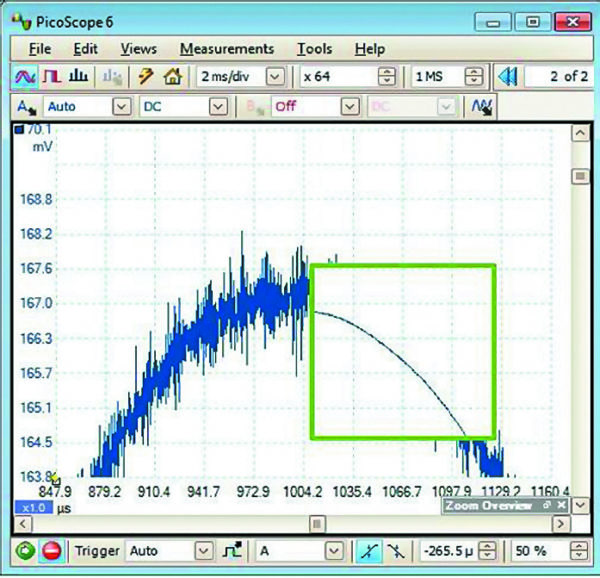 Фильтрация участка осциллограммы (в выделенном окне)