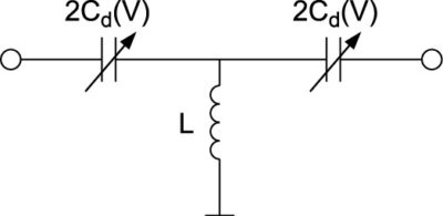 Одиночный каскад ФВ с варакторами, подключенными в проходном режиме