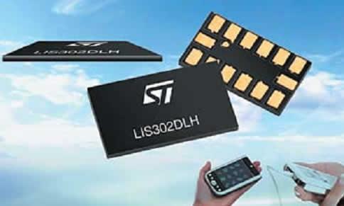 Трехосевой MEMS-акселерометр STMicroelectronics LIS302DLH толщиной 0,75 мм