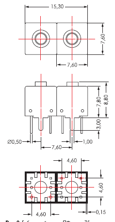 Габаритный чертеж ПФ серии 7S с двумя контурами