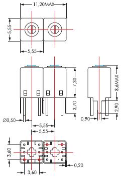 Габаритный чертеж ПФ серии 5R с двумя контурами