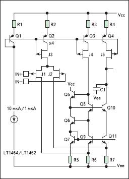 Входной каскад Bi-JFET ОУ LT1464/LT1462