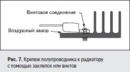 Крепеж полупроводника к радиатору с помощью заклепок или винтов