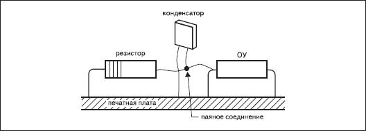 Соединение электрометрического ОУ с компонентами схемы при помощи навесного монтажа