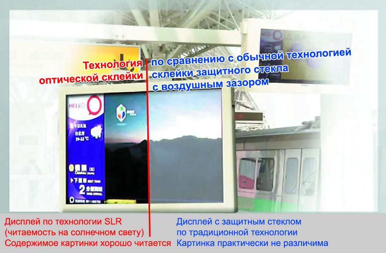 Сравнение качества изображения дисплеев, изготовленных потехнологии SLR+AOT, собычной дисплейной технологией