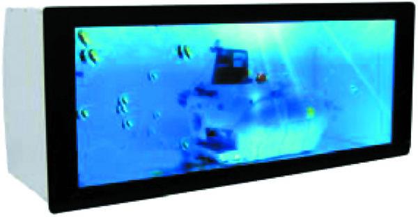 Готовый конструктив электронной витрины— короб сдисплейной дверцей, светодиодной подсветкой внутреннего пространства имультимедийными интерфейсами