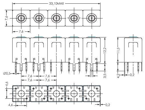Габаритный чертеж корпуса 7H212 миниатюрного дуплексера