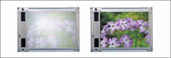 Слева экран TFT-дисплея без дополнительного фильтра, справа с фильтром