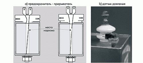 Рис. 4. Работа предохранителя от избыточного давления, внешний вид датчика давления