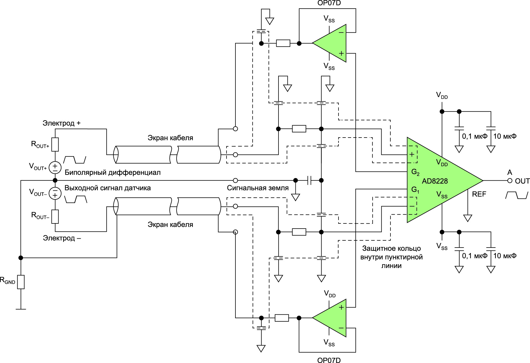 Схема подключения входного усилителя к электромагнитному расходомеру