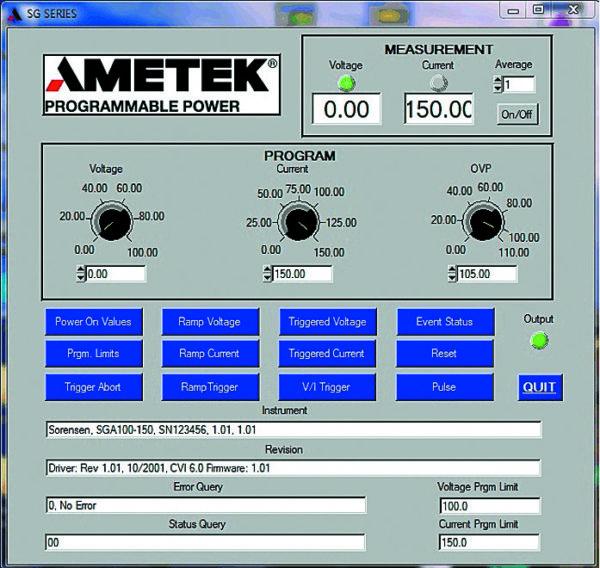 Графический пользовательский интерфейс удаленного управления источником питания серии SG