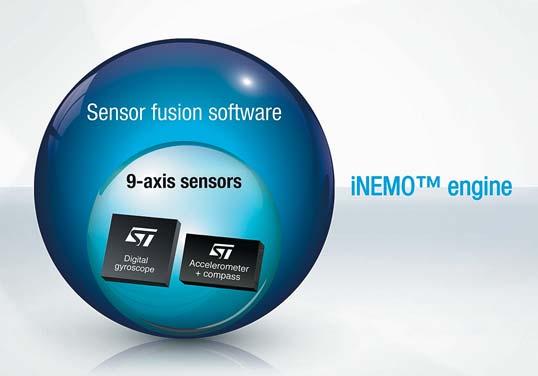 iNEMO Engine от STM — программный модуль, выполняющий 9-осевое слияние данных датчиков движения: 3-осевого акселерометра, 3-осевого гироскопа и 3-осевого магнитометра