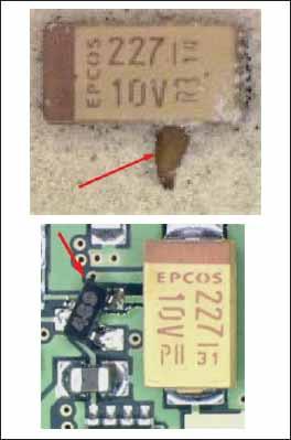 Пример повреждения корпуса танталового конденсатора и смещение компонента в корпусе SOT 23 с контактных площадок при газации в процессе пайки