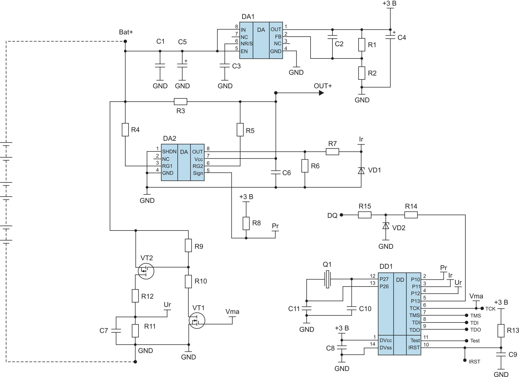 Схема устройства оценки остаточной емкости ХИТ на элементной базе общего назначения