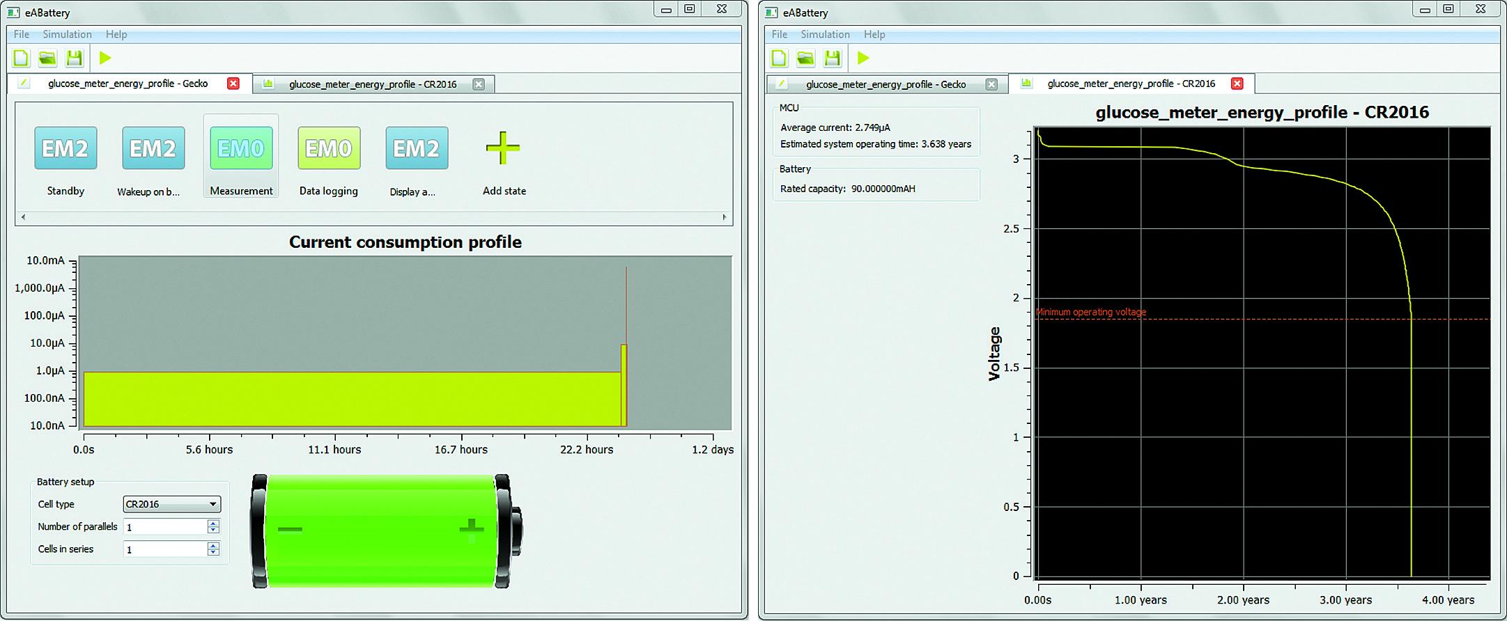 Расчет времени работы в Energy Aware Battery