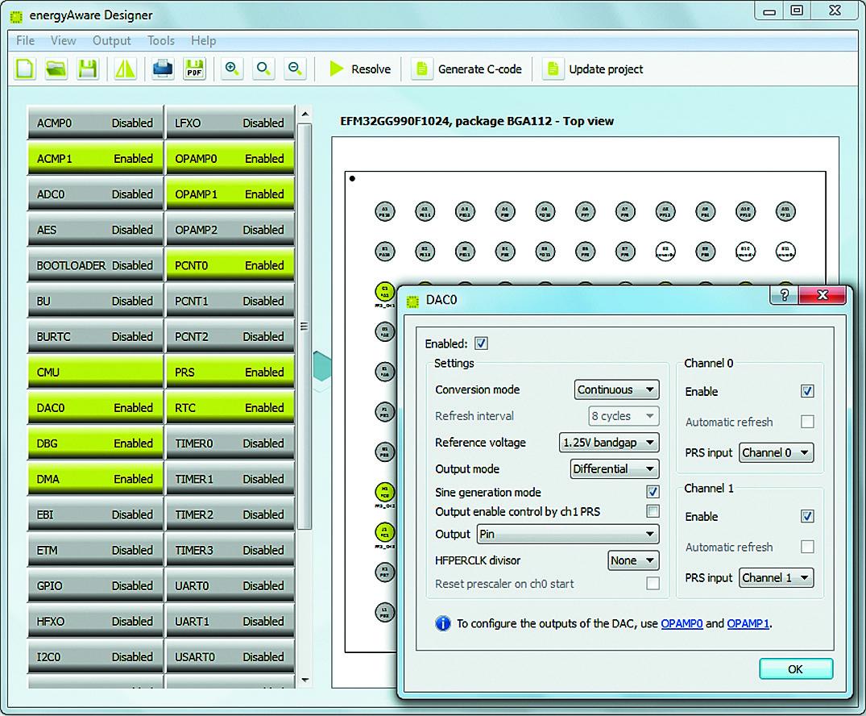 Конфигурирование периферии в Energy Aware Designer