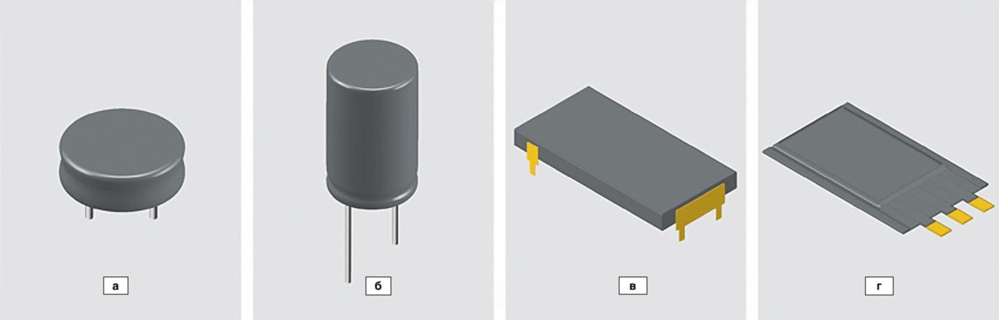 Типовые варианты конструктивного исполнения суперконденсаторов: низкопрофильный, дисковый монетного типа; цилиндрического типа (бочонок); в металлическом корпусе; плоский многослойный