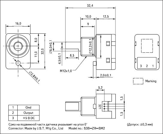 Внешний вид и размеры датчика SV21