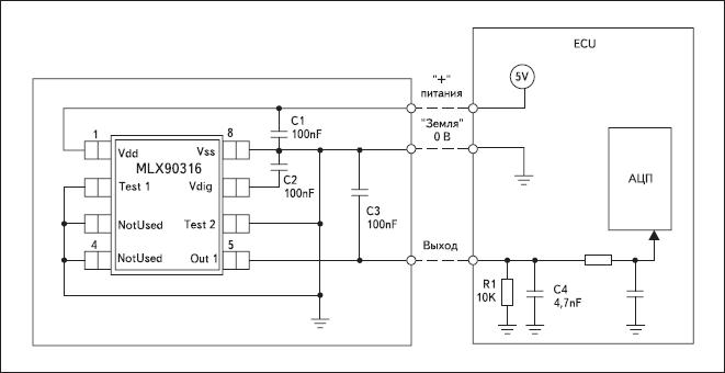 Схема применения MLX90316 в корпусе SOIC48, рекомендуемая Melexis для задач с аналоговым выходом