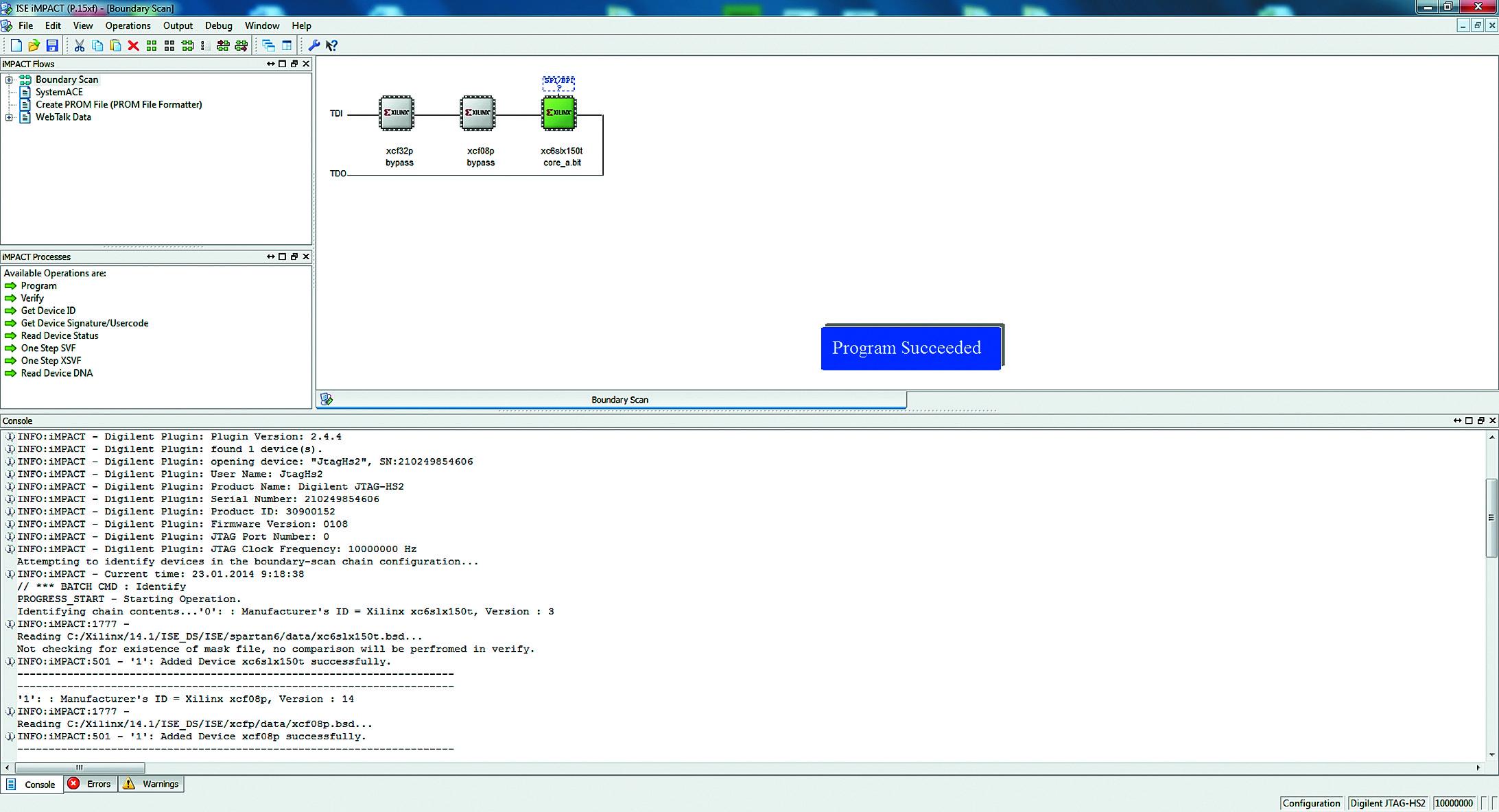 Результат работы программатора-отладчика