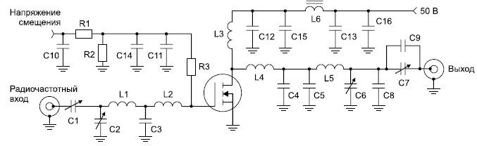 Тестовая схема 30-МГц однотактного усилителя мощности