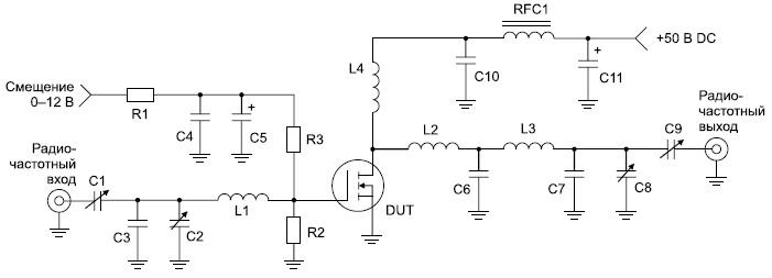 Тестовая схема усилителя мощности с частотой 175 МГц (спецификация элементов дана в оригинале)
