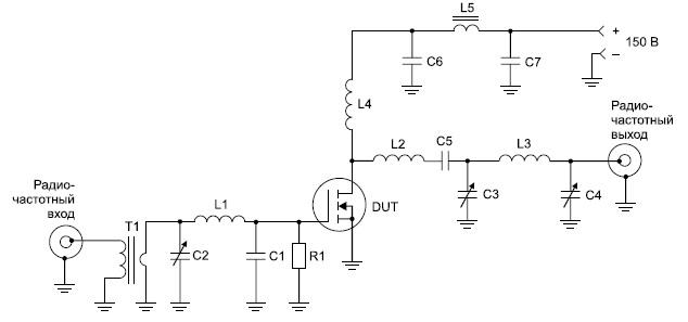 Тестовая схема усилителя натранзисторе ARF449 с напряжением питания 150В (спецификация элементов дана в оригинале)