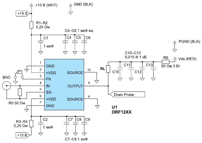 Схема тестирования прибора DRF1200