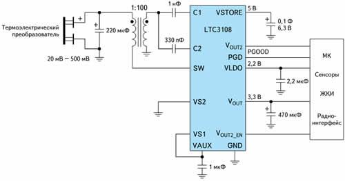 Типовая схема включения LTC3108