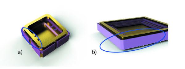 Электрические связи внутренних контактных площадок, монтажной площадки и ободка с внешними металлизированными площадками организованы
