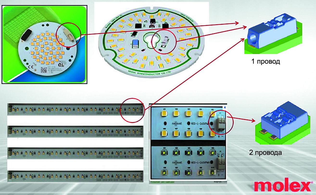 Примеры использования соединителей Lite-Trap компании Molex