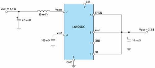 Типовая схема включения L6920DC