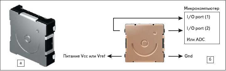 Рис. 4. Датчик положения D6BN-1: а) внешний вид; б) схема подключения