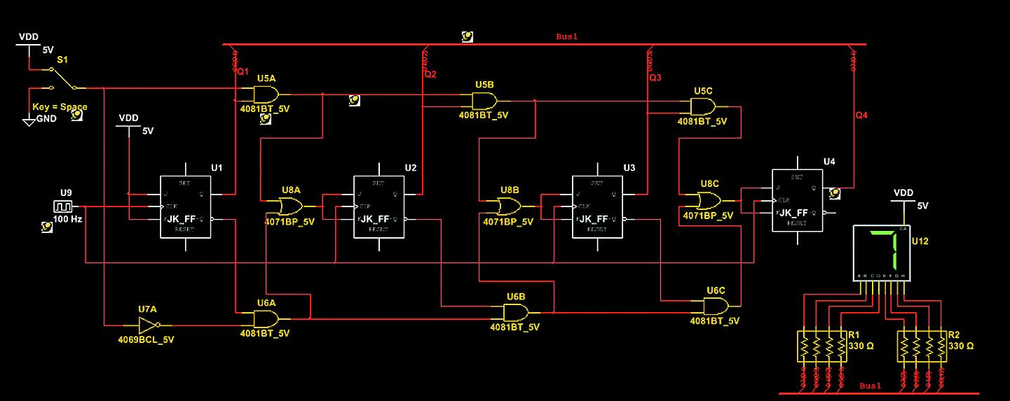 Схема электрическая принципиальная в рабочей области Multisim, предназначенная для экспорта в Ultiboard