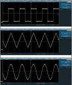 Прямоугольный, треугольный и синусоидальный сигналы на выходе синтезатора DDS