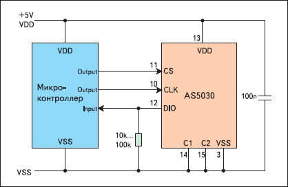 Схема 3-проводного подключения в режиме «только чтение»