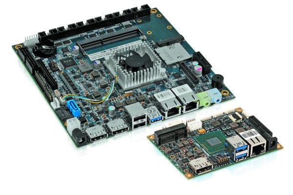 Примеры первых аппаратных реализаций платформы Bay Trail — встраиваемые материнские платы Kontron mITX-E38 (форм-фактор Mini-ITX) и pITX-E38 (форм-фактор Pico-ITX)