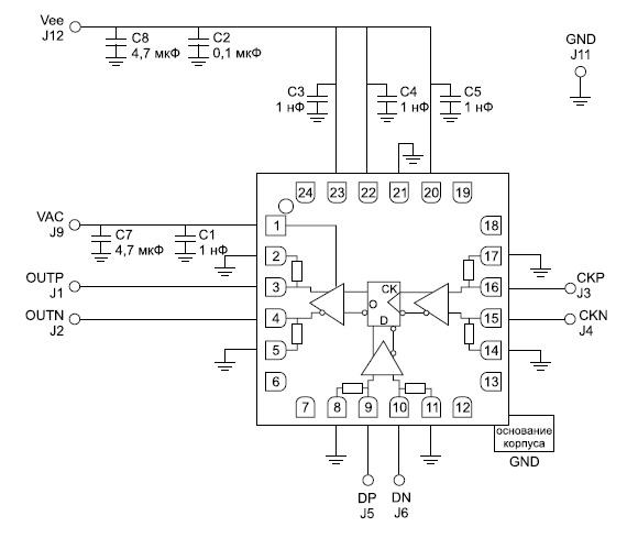 Подключение микросхемы HMC841LC4B к источникам питания