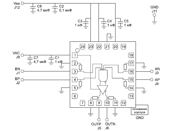Схема подключения микросхемы HMC843LC4B