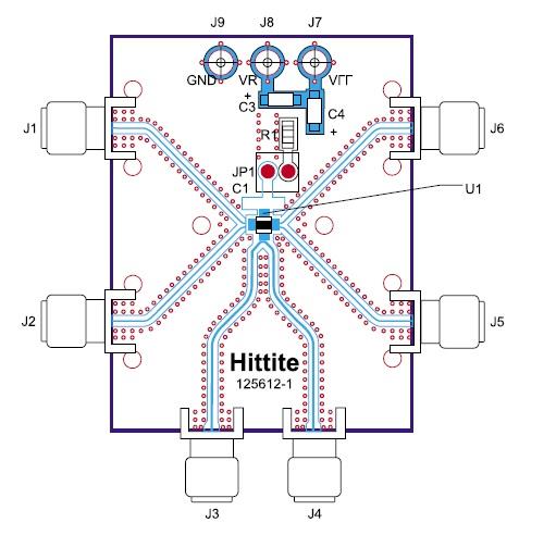 Печатная плата с микросхемой HMC842LC4B