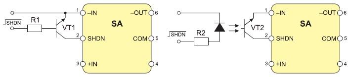 Типовые схемы использования вывода SHDN
