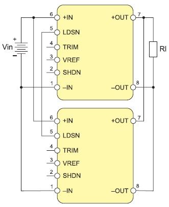 Схема параллельного соединения двух модулей серии HiQP