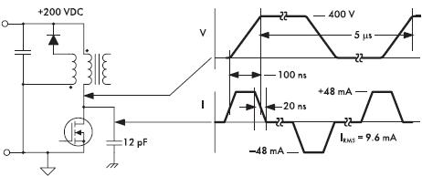 Рис. 11. Типичный источник СМ-шумов — емкостная связь стока, коммутирующего напряжение, полевого транзистора и заземленного радиатора