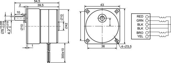 Габаритный чертеж и схема подключения обмоток шагового двигателя серии MT17FJ