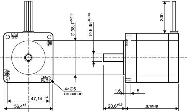 Габаритный чертеж шагового двигателя серии MT23FK